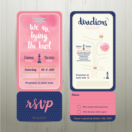 boarding card: Tying the knot water colour wedding card template set on wood background