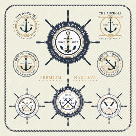 steering: Vintage nautical steering wheel and anchor labels set on striped background