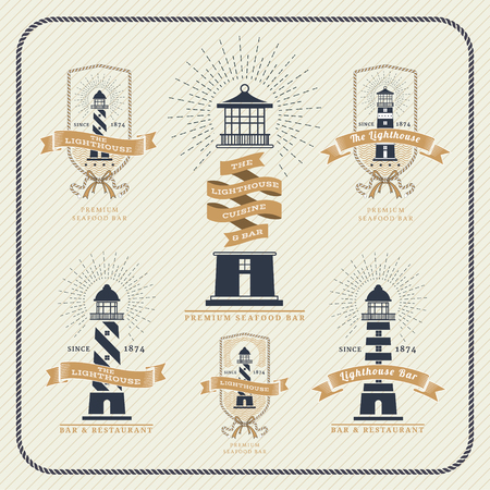 lighthouses: Vintage nautical lighthouse and ribbon labels set on striped background