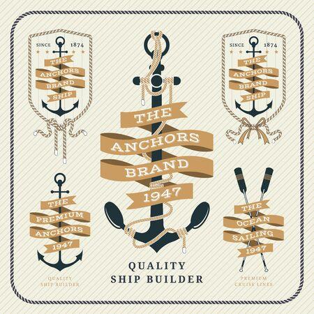étiquettes d'ancrage et rubans nautiques vintage set sur fond rayé Vecteurs