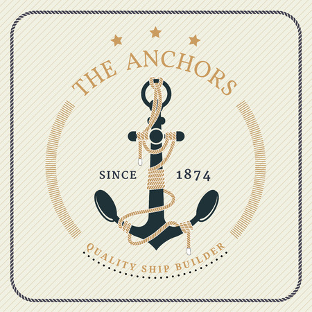 Vintage nautical anchor and tied rope label on striped background