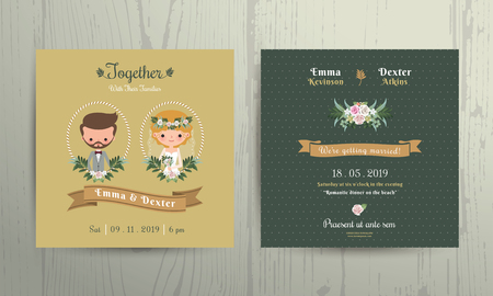 Wedding invitation card cartoon bride and groom portrait on wood background Vectores