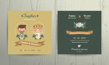matrimonio feliz: Tarjeta de invitación de la boda de novia de la historieta y el novio retrato sobre fondo de madera