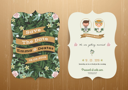 cartoon bouquet: Wedding invitation card rustic cartoon bride and groom on wood background