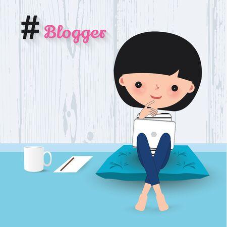 smilling: Blogger woman laptop cartoon sitting on cushion