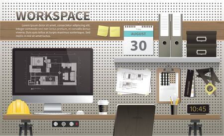 Architecture and interior designer workspace desktop