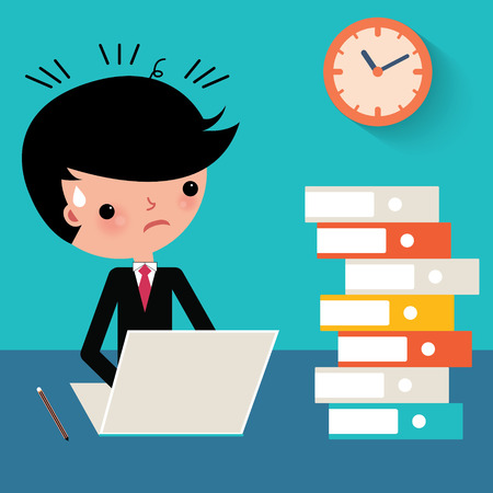 frustration: cartoon Busy businessman with laptop at work  Illustration