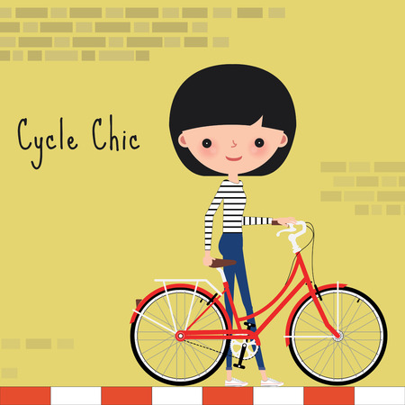 cartoon summer: Girl stand with red chic bicycle in the city