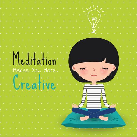Meditation creative woman sitting on cushion cartoon