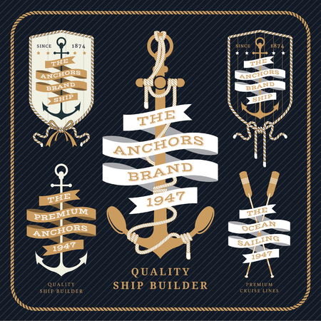 nautical rope: Vintage nautical anchor and ribbon labels set on dark striped background Illustration