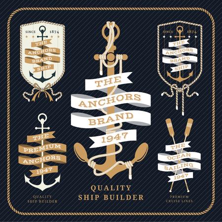 Vintage nautical anchor and ribbon labels set on dark striped background Иллюстрация