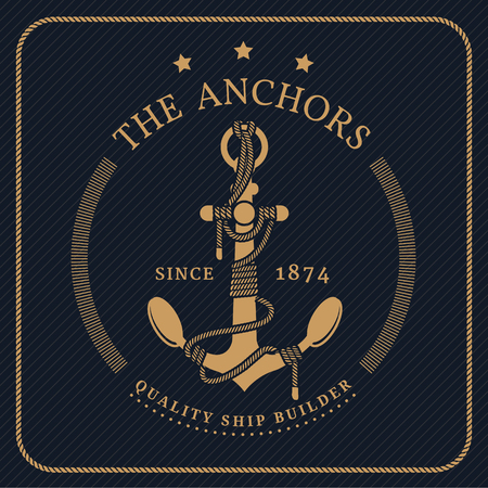 Vintage nautical anchor and tied rope label on dark striped background Vettoriali