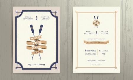Vintage nautical twin paddles ribbon wedding invitation card template on wood background  イラスト・ベクター素材
