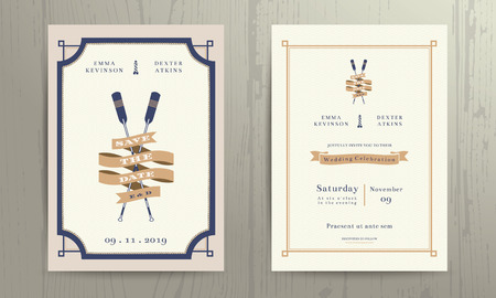 Vintage nautical twin paddles ribbon wedding invitation card template on wood background Vettoriali