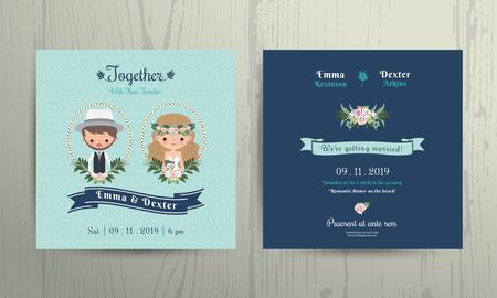 huwelijk: Bruiloft uitnodiging kaart strand thema cartoon bruid en bruidegom portret op houten achtergrond