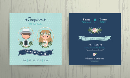 greetings card: Wedding invitation card beach theme cartoon bride and groom portrait on wood background