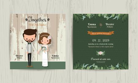 aniversario de boda: Invitación de la boda de la novia del inconformista de dibujos animados tarjeta y el novio en el fondo de madera Vectores