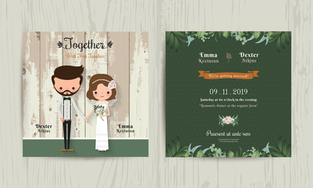 Wedding invitation card cartoon hipster bride and groom on wood background Ilustração