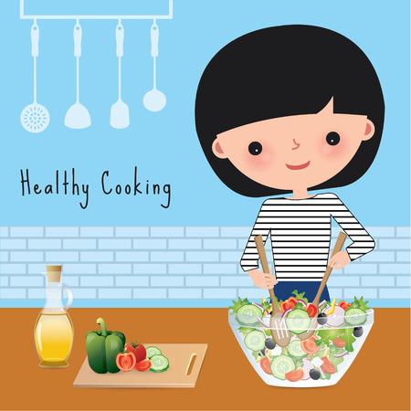 pepino caricatura: Mujer de cocina saludable con ensalada de taz�n en la cocina