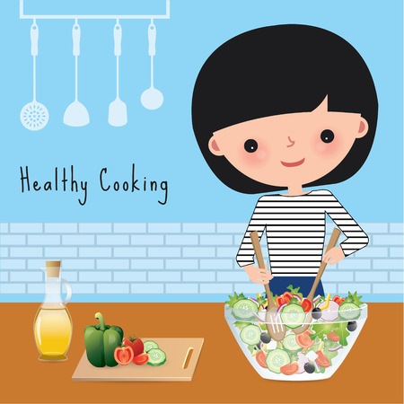 cooking utensils: Woman healthy cooking with salad bowl in the kitchen