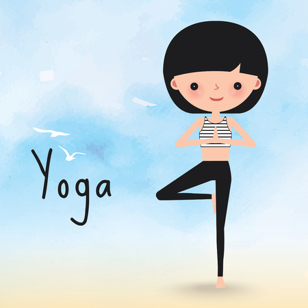 female animal: Yoga woman Surya Namaskar on the beach cartoon