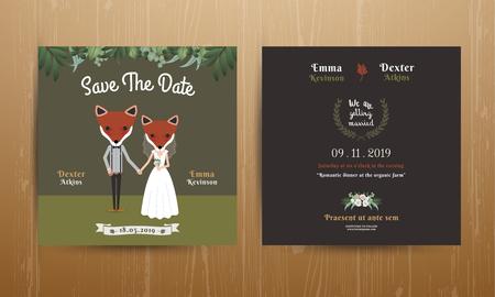 couple holding hands: Animal bride and groom cartoon wedding invitation card on wood background