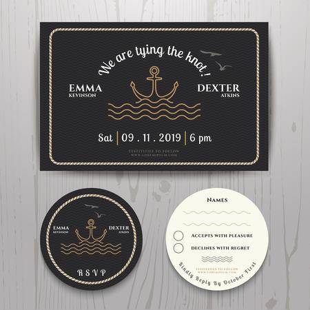 ancre marine: Ancre nautique invitation de mariage et une carte de RSVP modèle situé sur fond de bois Illustration