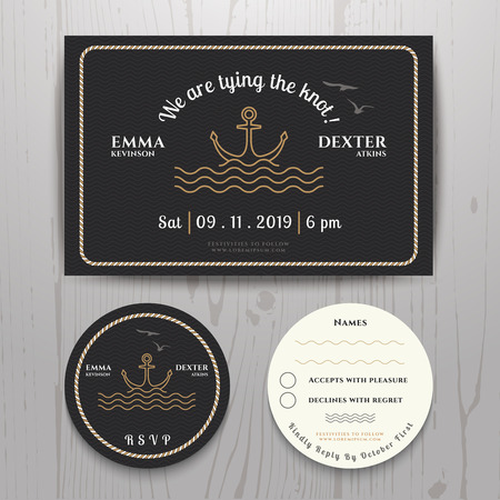 Nautical sea anchor wedding invitation and RSVP card template set on wood background Vettoriali