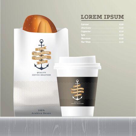 espresso: Coffee and bread set menu on wood table