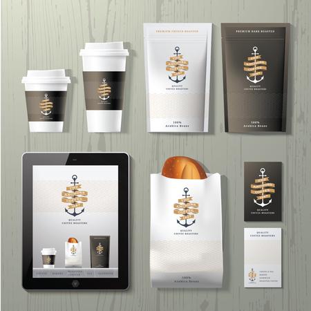 taza de café: El anclas cafetería identidad corporativa diseño de plantilla fija en el fondo de madera
