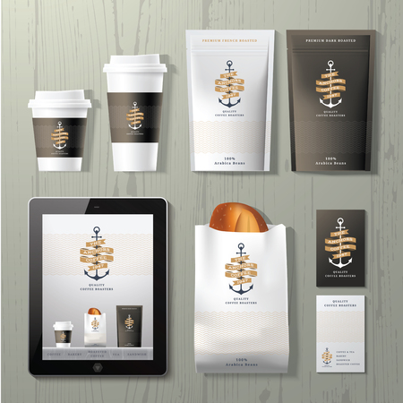 product packaging: The anchors coffee shop corporate identity template design set on wood background