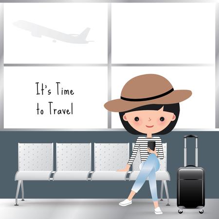 Reizende vrouw cartoon zitten op het vliegveld