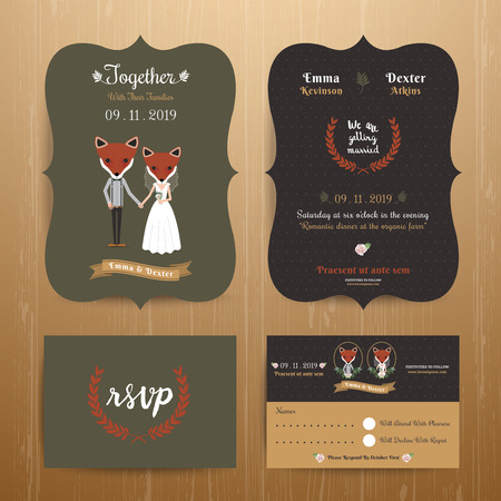 cartoon bouquet: Animal bride and groom cartoon wedding invitation RSVP card set on wood background Illustration