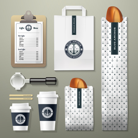 packaging design: Blue anchor coffee shop corporate identity template design set. Take away mock up.