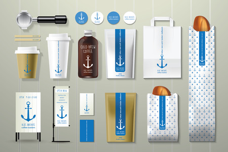 coffee shop: Blue anchors coffee shop corporate identity template design set on wood background