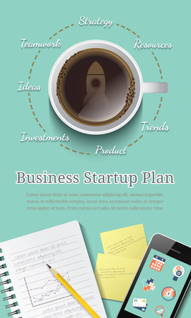 Business startup plan concept for web banner and printed material