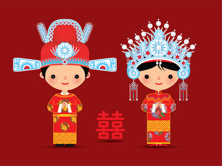 Čínský ženich a nevěsta svatební karikatura s dvojitým symbolem štěstí Ilustrace