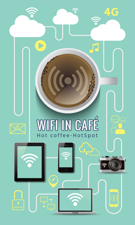 4g: Coffee shop free service wifi infographic concept with icons