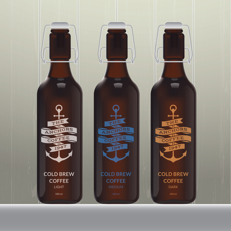 Cold brew coffee bottle set on wood background Vectores