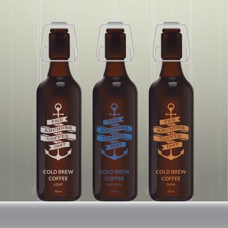 Cold brew coffee bottle set on wood background Stock Illustratie