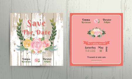 Floral roses wreath save the date wedding invitation card template on wood background Иллюстрация