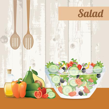 pepino caricatura: ensalada de verduras frescas con aceite de oliva en el fondo de madera Vectores