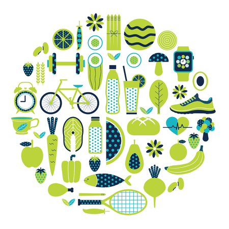 Healthy lifestyle icon set in green and blue colours theme