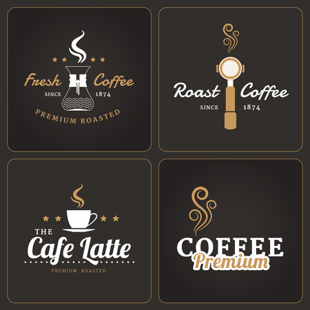 Set of coffee shop badges and labels on dark background