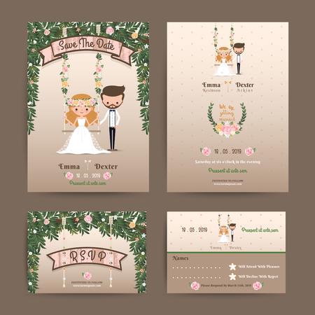 Rustic wedding cartoon bride and groom couple invitation RSVP set