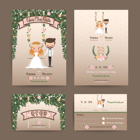 Rustic wedding cartoon bride and groom couple invitation RSVP set. Stock Photo
