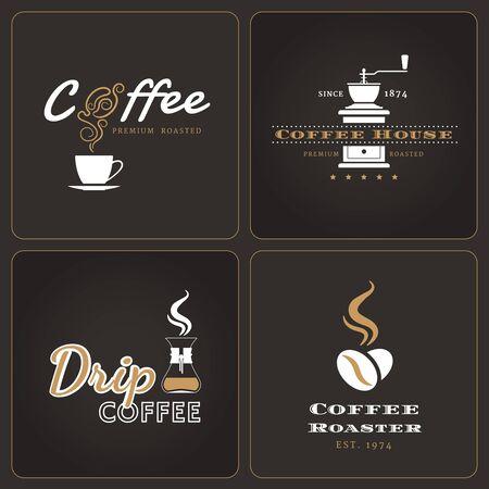 Satz von Filterkaffee-Shop Abzeichen und Etiketten auf dunklem Hintergrund Vektorgrafik
