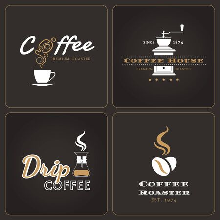 Set of drip coffee shop badges and labels on dark background