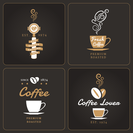 Set of vertical coffee shop badges and labels on dark background