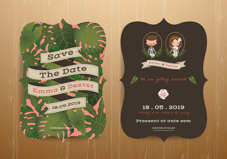 engagement cartoon: Tropical wedding bride and groom invitation card on wood background